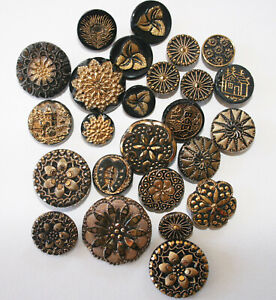 Antique Victorian Black Glass with Gold Luster Buttons~Some Sets