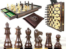 "Magnetic Chess Set Pieces Rose wood Galaxy Staunton King Size 3"" with Board/Box"