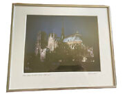 "Framed & Matted Photo Art Notre Dame Paris At Night 11.5""x13"" Photography Signed"