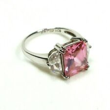 Sterling Silver Size 8 Ring Pink and Clear Cubic Zirconia Stones