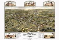 "1881 Bird's Eye View Map of Rockland, MA Vintage 13"" x 19"" Art Print Reprint"