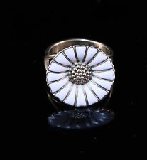 GEORG JENSEN Daisy Yellow Gold Plate & White Enamel Silver Ring 18 mm (US 5.5)