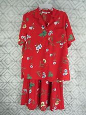 Alfred Dunner 2 Pice Set Top and Skirt Size 8 Red Floral Buttons  Short Sleeve