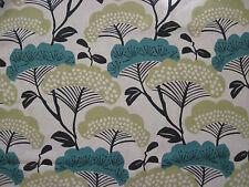 "SANDERSON CURTAIN FABRIC DESIGN  ""Treetops"" 3.5 METRES (350 CM) TEAL & LINDEN"