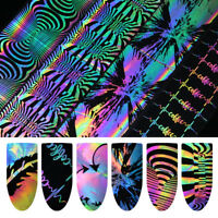 Holographic Nail Foil Laser Heart Firework Wave Nail Art Transfer Stickers DIY
