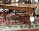 ANTIQUE FRENCH OAK PARQUETRY TABLE PARQUET TOP DINING OR LIBRARY CARVED LOUIS