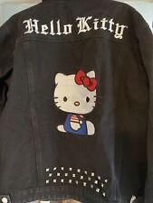 NWT Dolls Kill X Hello Kitty XL Denim Trucker jacket Black Make My Own way