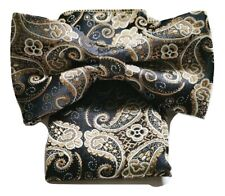 Woven Paisley Jacquard Silky Bow Tie + Handkerchief Pocket Square Set Wedding