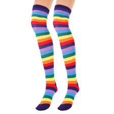 Womens Rainbow Stripe Knee Thigh High Socks Arm Warmer Fingerless Glove Stocking