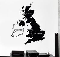 Vinyl Wall Decal Great Britain United Kingdom UK Map Stickers (489ig)