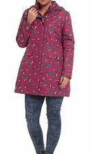 Womens Waterproof Windproof Floral Poppy Patterned Padded Jacket Coat Pink/grey 24