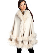 Cream Ladies Urban Mist Knitted Cape Faux Fur Trim Hooded Poncho Girls Wrap NEW
