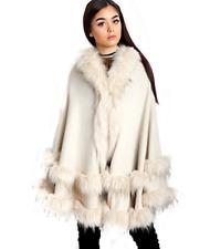 Cream Ladies Urban Mist Knitted Cape Faux Fur Trim Hooded Poncho Girls Wrap NEW