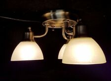 RV TRIPLE Light Ceiling Mount w/push button Brass OPTRONICS 12 Volt  NEW