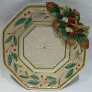 Fitz and Floyd Christmas Winter Wonderland Large Canape Plate Holly Berry
