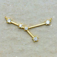 Gold Cubic Zircon Rhinestone Charm Cancer Zodiac Sign Constellation Pendant Link