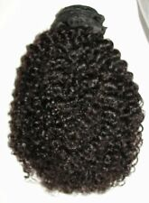 14-inch Virgin Mongolian Kinky Curl/Curly Human Hair Weft Extensions - Natural