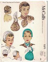 1571 McCalls Sewing Pattern Misses Hats Bag Vintage 1950s Scarf Scarves OOP
