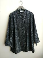 Chicos jacket button up long sleeve black gray New With Tags Womens size 3