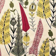 Original vintage mid-century textile 50's fabric DIY wall art framing Heals era
