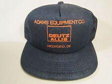 Vintage Hat Mens Cap ADAMS EQUIPMENT Medford, Oklahoma DEUTZ ALLIS [Y155a]
