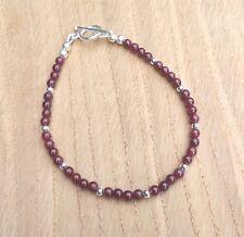 "Red Garnet Beaded Bracelet (January Birthstone), Silver Plated, 7 3/4"""