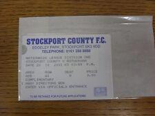20/10/2001 BIGLIETTO: Stockport County V Rotherham United [direttori di complimento