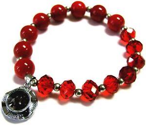 January Birthstone Bracelet Birthday Red Garnet Crystal Beaded Bracelet Woman