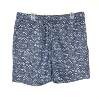 Bonobos Mens 34 Shorts Print Beach Elastic Drawstring Waist Blue Cotton