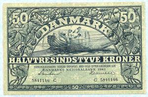 DENMARK 50 Kroner 1942 P32d AU RARE!!!