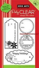 HERO ARTS Clear Stamps CHRISTMAS HAPPY HOLIDAY TAGS # CL458 Poly