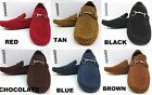 Men's FARANZI red black brown blue tan suede loafers slip on shoes style F4818