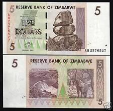 ZIMBABWE 5 DOLLARS P66 2007 BUNDLE ELEPHANT UNC Trillion Series Money X 100 NOTE