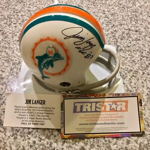 JIM LANGER AUTOGRAPH MIAMI DOLPHINS MINI HELMET HOF '87 INSCRIPTION TRISTAR COA