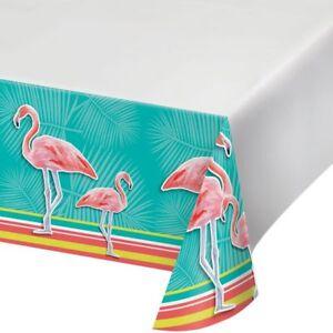 Hawaiian Luau Party Island Oasis Flamingo Plastic Tablecloth