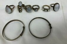 Mixed Bundle of 925 Sterling Silver Wearable Pieces 6 Rings and 2 Baby Bangles