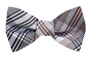 Men's Big & Tall Gray Black Brown Plaid Silk  XL Self Tie Bowtie Weddings Formal