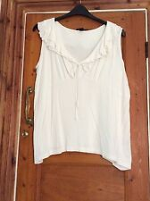 Plus Size H&M B AND B RANGE IVORY RUFFEL NECK TOP SIZE 2XL