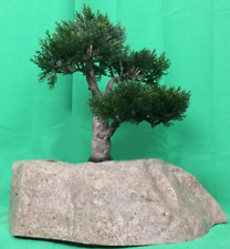 "Artificial UV Rated Outdoor 15"" Cedar Bonsai Tree with Sm Rock Planter"