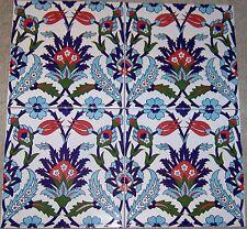 "Set of 24 8""x8"" Defective Turkish Iznik Tulip & Carnation Pattern Ceramic Tile"