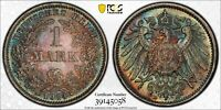 MS65 1914-D Germany Silver 1 Mark, PCGS Secure- Rainbow Toned