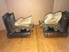 Vintage Bookends Western Wagon Train Wood & Canvass Gift Decor Office Library