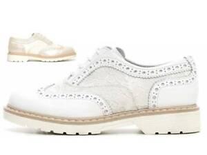 Nero Giardini J P732100F Avorio e Bianco Bambina Stringate da Passeggio Fashion