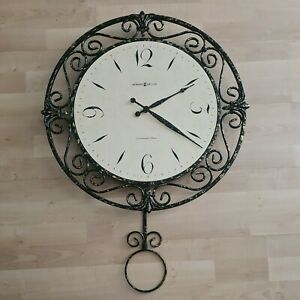 Howard Miller Oversized Round Wall Clock w/ Pendulum Wrought Iron Quartz 625-329