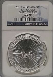 NGC MS70 2016-P Australia KANGAROO $1 Dollar Coin Silver 1oz .999 Ag Perth Mint