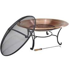 "39"" Solid 100% Copper Fire Pit Bowl Wood Burning Patio Deck Grill with Log Grate"