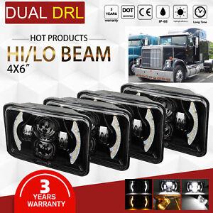 """4x6"""" LED Headlight Amber for Kenworth T400 T600 T800 W900L W900B Classic 120/132"""