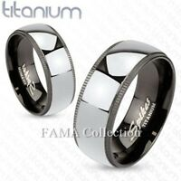 FAMA Black Titanium Grooved Edges with Solid Titanium Centre Band Ring Size 9-13