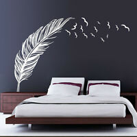 BE_ DIY Wall Decor Removable Feather Home Bedroom Office Wall Sticker Call