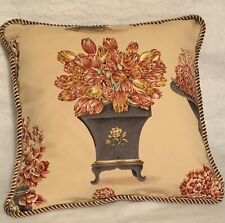 French Country Cottage English Floral Pillow Beige Rose Toile Traditional